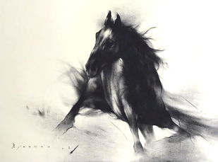 The Stallion by Ajay De, Illustration Drawing, Charcoal on Paper, Beige color