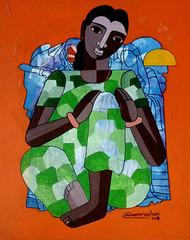 Mahuva by Naheem Rustum, Expressionism Painting, Acrylic on Canvas, Orange color