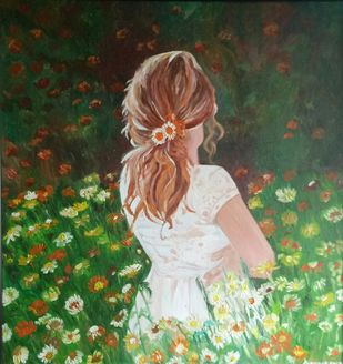 The shy gardener by Rupinder kaur, Expressionism Painting, Oil on Canvas, Green color