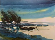 SEA SIDE by RAJENDRA MALAKAR, Impressionism Painting, Watercolor on Paper, Green color