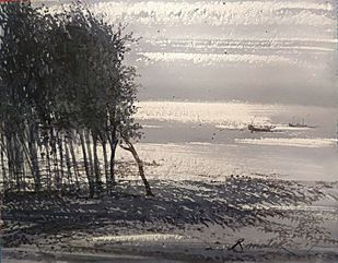 An afternoon in Summer by RAJENDRA MALAKAR, Impressionism Painting, Watercolor on Paper, Gray color