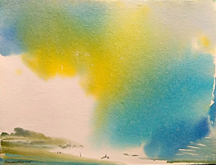 Summer of 69 by RAJENDRA MALAKAR, Abstract Painting, Watercolor on Paper, Beige color