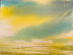 Summer of '69 by RAJENDRA MALAKAR, Impressionism Painting, Watercolor on Paper, Beige color