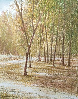 Vivalado Spring by RAJENDRA MALAKAR, Impressionism Painting, Watercolor on Paper, Beige color