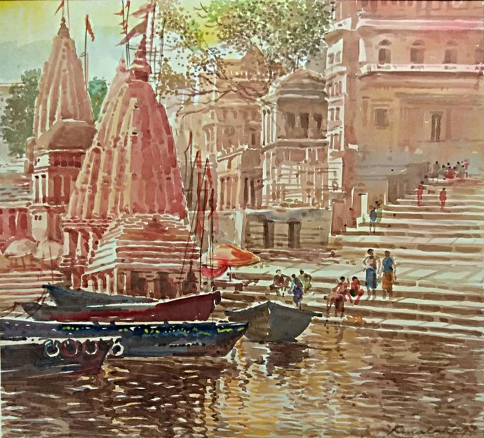 Monikornika (Varanasi) by RAJENDRA MALAKAR, Expressionism Painting, Watercolor on Paper, Brown color