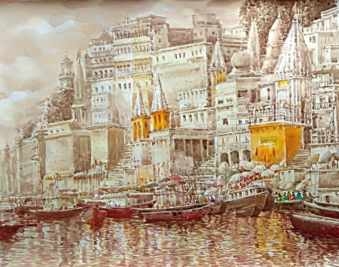 Varanasi by RAJENDRA MALAKAR, Expressionism Painting, Watercolor on Paper, Beige color