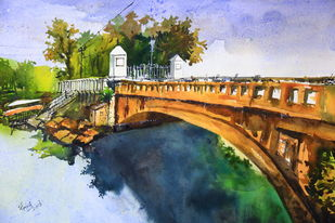 The Bridge by Krishnendu Chatterjee, Impressionism Painting, Watercolor on Paper, Brown color