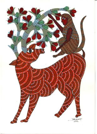 Innocent Mates by Sunil Shyam , Tribal Drawing, Acrylic & Ink on Paper, White color