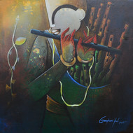 flute seller Digital Print by anupam pal,Decorative