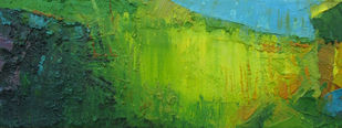My Sky of Childhood by Abhishek Kumar, Abstract Painting, Oil on Canvas, Green color