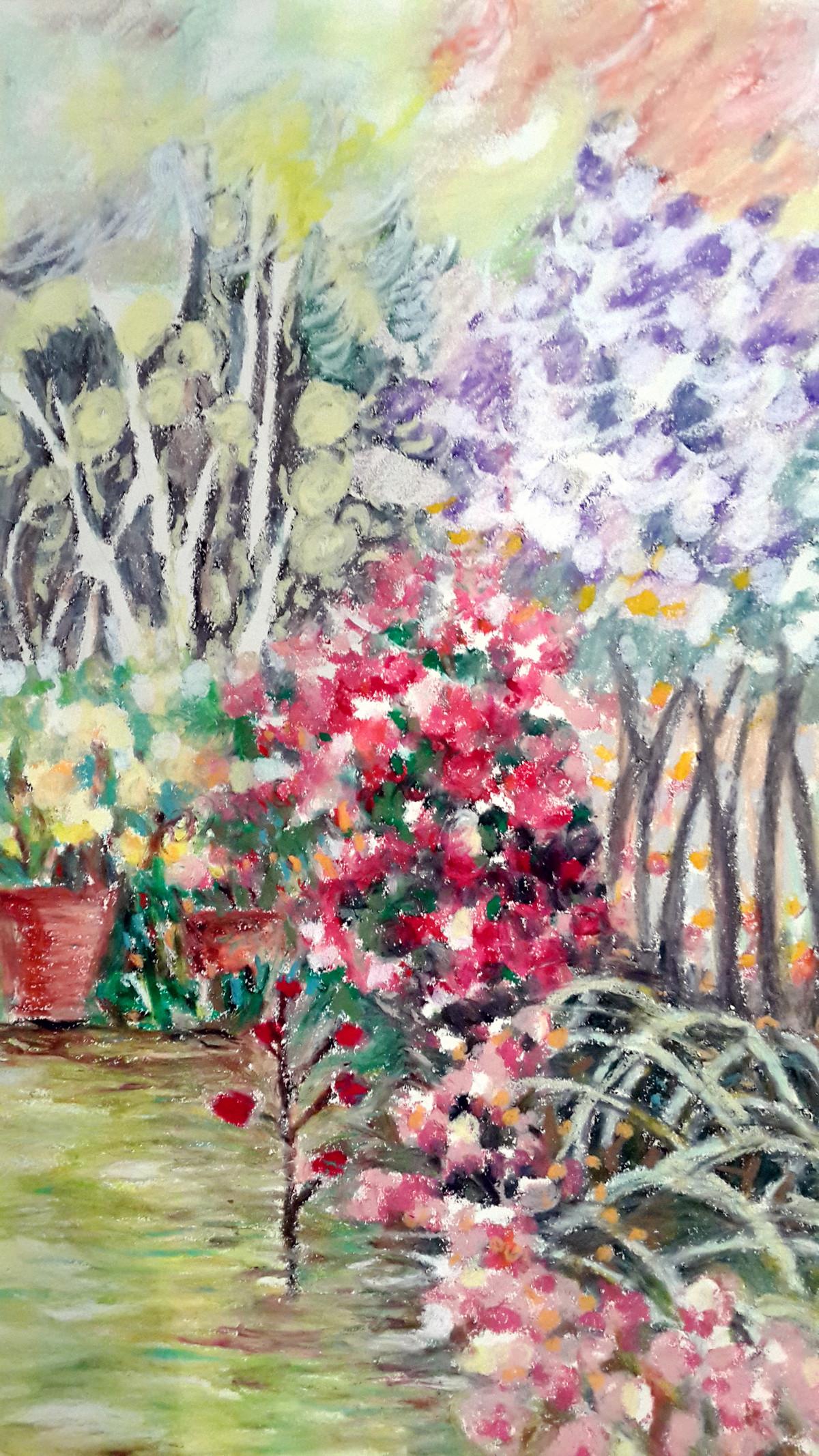 Garden on a windy day Digital Print by Shalini Sinha,Impressionism