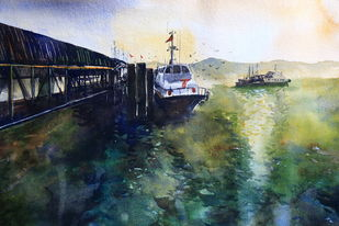 Jetty by Krishnendu Chatterjee, Impressionism Painting, Watercolor Wash on Paper, Green color