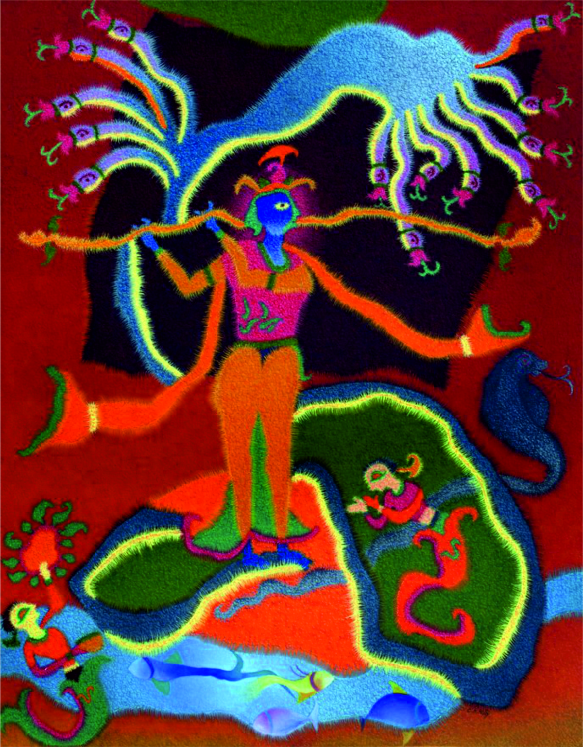 Naag Daman by C D Mistry, Expressionism Painting, Oil on Canvas, Brown color