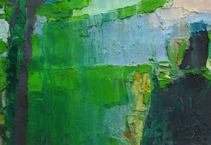 Contrast of Peace by Abhishek Kumar, Abstract Painting, Oil on Canvas, Green color