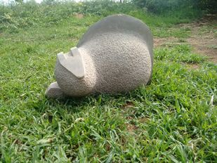 Squirrel by Vikram Waghmode, Art Deco Sculpture | 3D, Stone, Green color