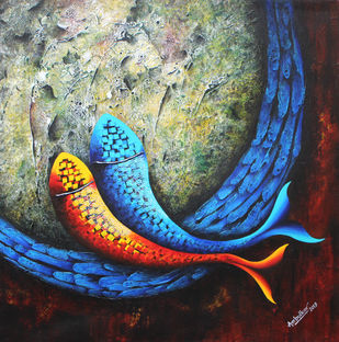 Emotions Series - 50 by Sharad Ambulkar, Expressionism Painting, Acrylic on Canvas, Blue color