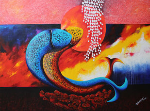 Emotions Series - 38 by Sharad Ambulkar, Expressionism Painting, Acrylic on Canvas, Brown color