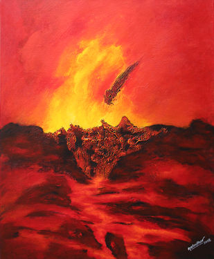 Untitled by Sharad Ambulkar, Abstract Painting, Acrylic on Canvas, Red color