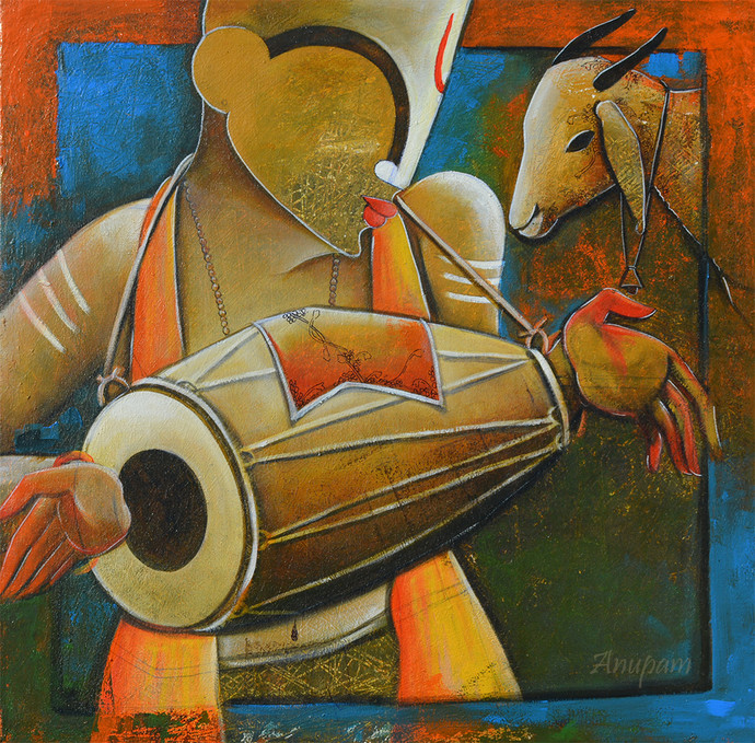 Drummer Boy by anupam pal, Decorative Painting, Acrylic on Canvas, Brown color