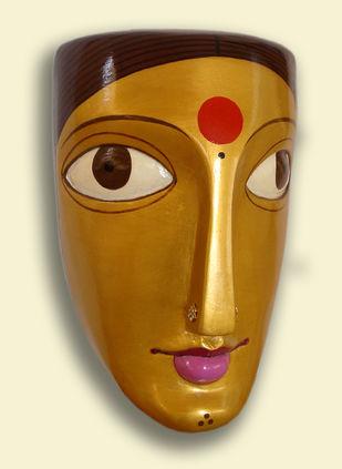 Woman by Kandi Narsimlu, Art Deco Sculpture | 3D, Fiber Glass, Beige color