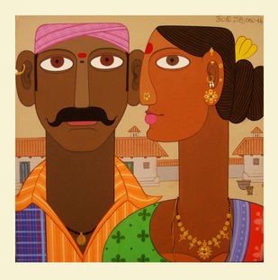 Couple -5 by Kandi Narsimlu, Expressionism Painting, Acrylic on Canvas, Brown color
