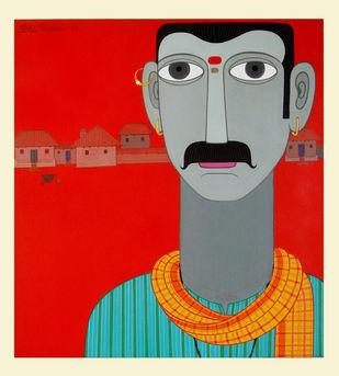 Telangana Man by Kandi Narsimlu, Traditional Painting, Acrylic on Canvas, Red color