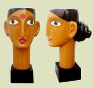 Telangana woman by Kandi Narsimlu, Art Deco Sculpture   3D, Fiber Glass, Yellow color