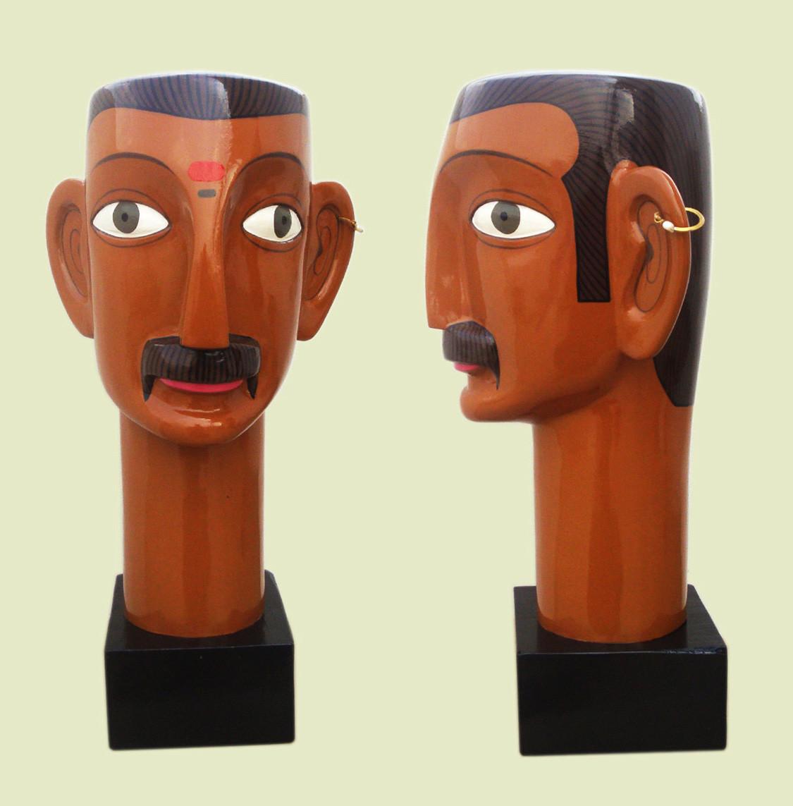 Telangana Man by Kandi Narsimlu, Art Deco Sculpture | 3D, Fiber Glass, Brown color