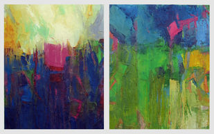 Two Seasons by Abhishek Kumar, Abstract Painting, Oil on Canvas, Blue color
