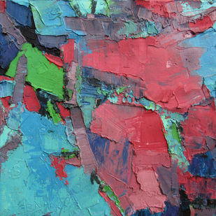 Innocent Pink by Abhishek Kumar, Abstract Painting, Oil on Canvas, Brown color