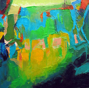 Spring Fragrant by Abhishek Kumar, Abstract Painting, Oil on Canvas, Green color