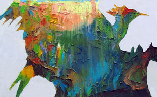 Shimmering Spirit by Abhishek Kumar, Abstract Painting, Oil on Canvas, Green color