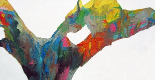 Eucalyptract-III by Abhishek Kumar, Abstract Painting, Oil on Canvas, Gray color