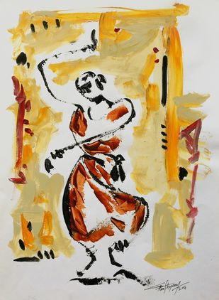 untitled by Ghanshyam Kashyap, Expressionism Painting, Acrylic on Paper, Beige color