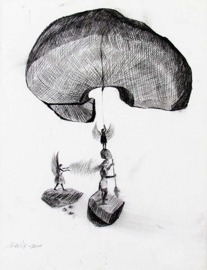 untitled by Umendra Pratap Singh, Illustration Painting, Charcoal on Paper, Gray color
