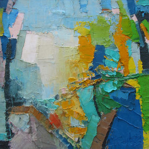 Summer Glow by Abhishek Kumar, Abstract Painting, Oil on Canvas, Green color