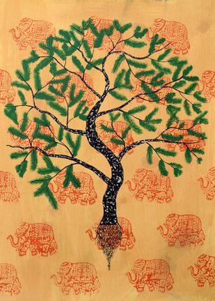Jaya Vriksh by Sumit Mehndiratta, Impressionism Painting, Acrylic & Ink on Paper, Beige color
