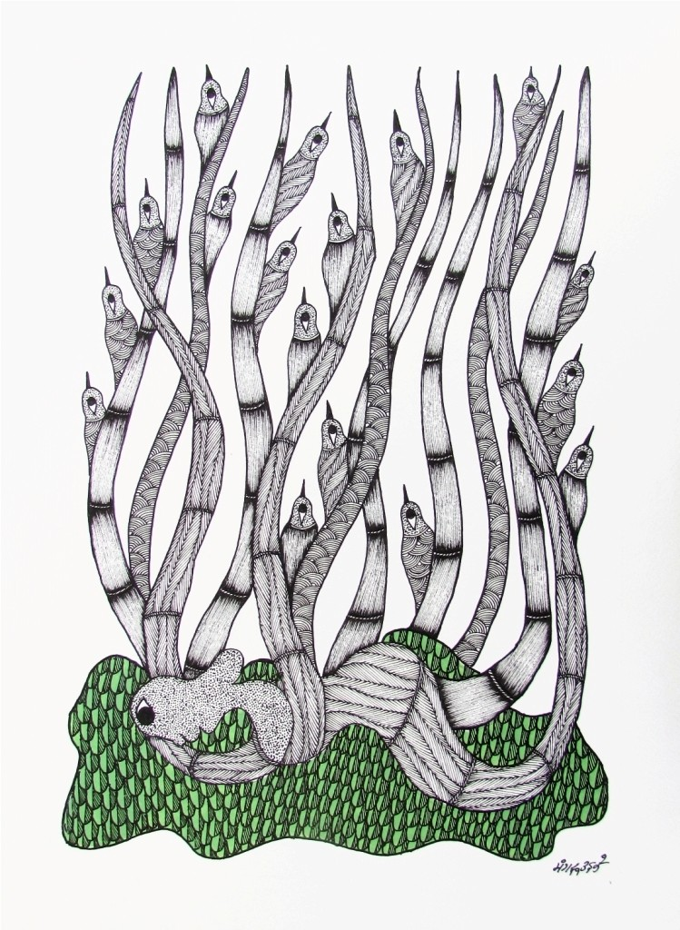 untitled by MANGRU UIKEY, Tribal Painting, Acrylic & Ink on Paper, Gray color