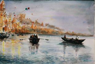 Shyam e Benaras by Avanish Trivedi, Impressionism Painting, Watercolor on Paper, Gray color