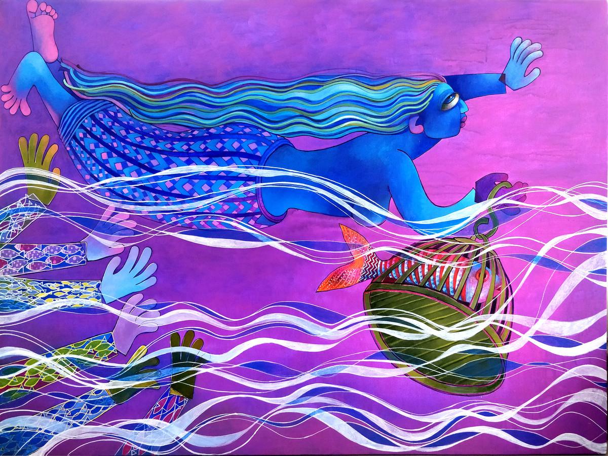 Water Girl Digital Print by Sunita Dinda,Traditional