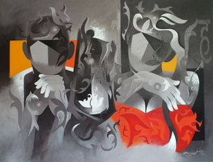 thinkers by RANJIT SINGH KURMI, Geometrical Painting, Acrylic on Canvas, Gray color