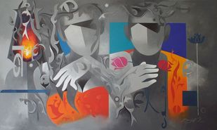 worship-26 by RANJIT SINGH KURMI, Geometrical Painting, Acrylic on Canvas, Gray color
