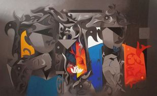 worship-27 by RANJIT SINGH KURMI, Expressionism Painting, Acrylic on Canvas, Brown color