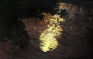 REFLECTIONS by R Sukumaran, Impressionism Painting, Oil on Canvas, Black color