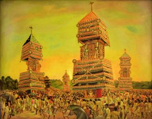 KETTUKUTHIRAKAL (Decorated Horses) by R Sukumaran, Traditional Painting, Oil on Canvas, Brown color