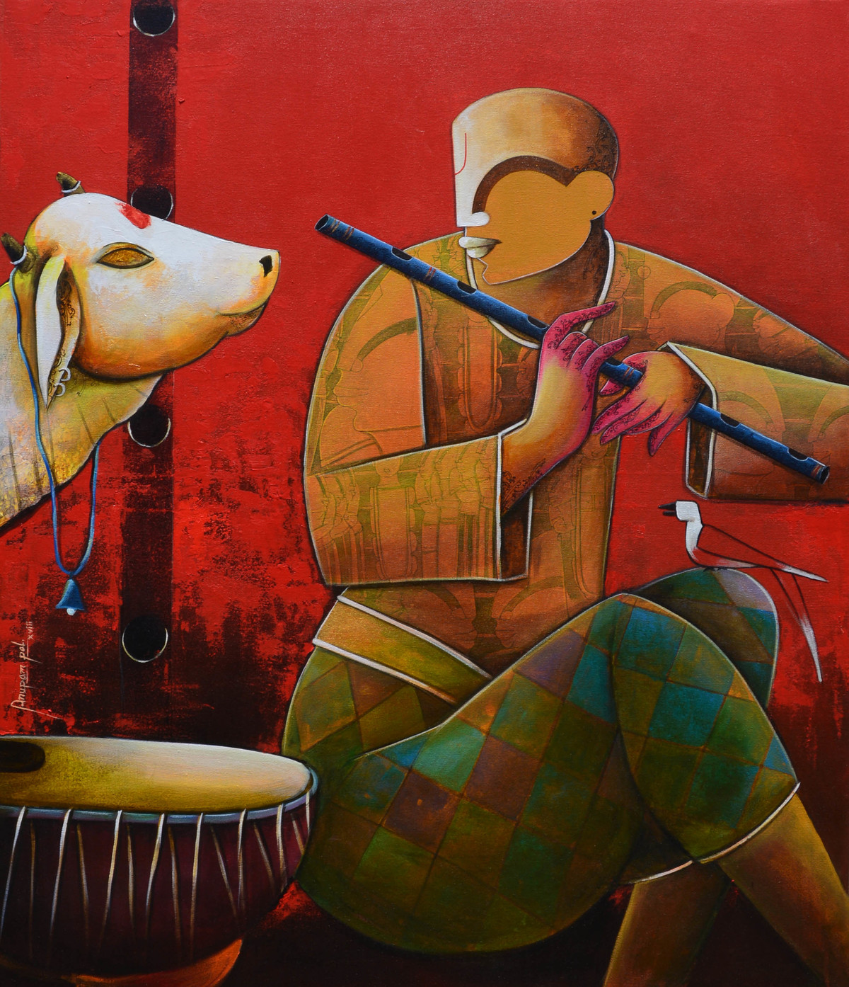 in a conversation by anupam pal, Expressionism Painting, Acrylic on Canvas, Brown color