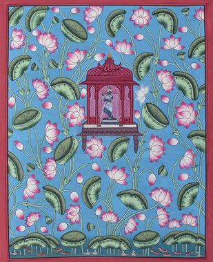 Krishna Ji In Kamal Talai by Unknown Artist, Folk Painting, Stone Colour on Cloth, Green color