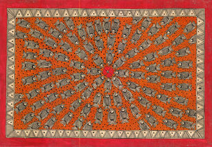 Madhubani Art by Unknown Artist, Folk Painting, Natural colours on paper, Brown color