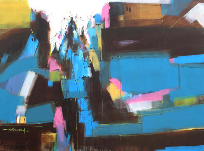 temple 05 by Dheeraj Ramesh Yadav, Abstract Painting, Acrylic on Canvas, Blue color