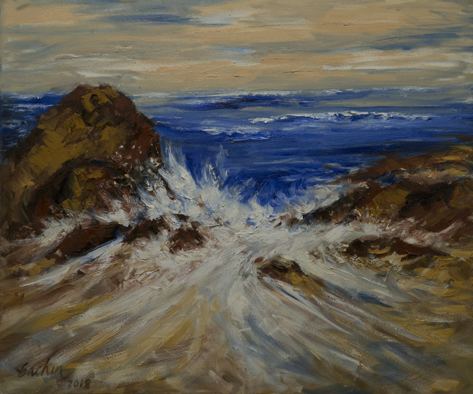 on the rocks by Sachin Upadhye, Impressionism Painting, Oil on Canvas, Brown color